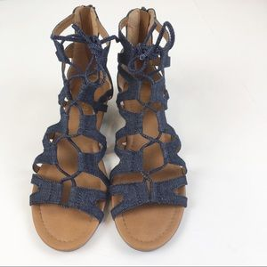 Crown Vintage Sarah Denim Wedge Gadiator Sandals
